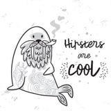 Carte postale noire et blanche de hippie avec le morse barbu de bande dessinée avec des tatouages Illustration de vecteur Photos libres de droits
