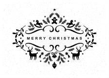 Carte postale noire et blanche de Noël Photographie stock