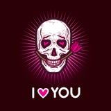 Carte postale noire et rose sombre et sinistre d'illustration avec le crâne Image libre de droits