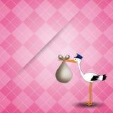 Carte postale nouveau-née pour la fille avec la cigogne Photo stock