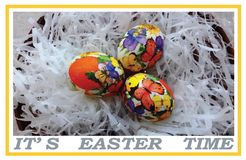 Carte postale ou bannière avec un rappel que la semaine de Pâques continue illustration stock