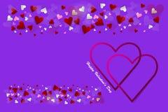 Carte postale ou bannière d'amour avec des coeurs de cadre illustration de vecteur
