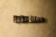 CARTE POSTALE - plan rapproché de mot composé par vintage sale sur le contexte en métal Photo libre de droits