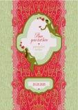 Carte postale pour épouser avec la dentelle et endroit pour le texte Sujet de la réunion et du favori actuel Photo libre de droits