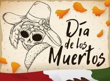 Carte postale pour et x22 ; Dia de Muertos et x22 ; avec des pétales et Catrina de souci, illustration de vecteur Photos libres de droits