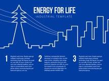 Carte postale pour l'énergie, nucléaire ou l'entreprise d'énergie illustration de vecteur