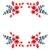 Carte postale pour l'enveloppe L'ornement de l'aquarelle a peint des fleurs et des feuilles dans des couleurs rouges, bleues et v Photographie stock libre de droits
