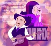 Carte postale romantique des amants Illustration Stock