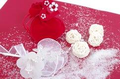 Carte postale rouge de Noël Images stock