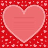 Carte postale rouge romantique de Valentine avec le coeur Vecteur Photo stock