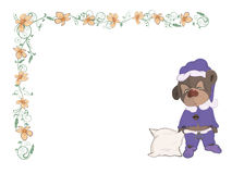 Carte postale somnolente d'ours et d'oreiller Images libres de droits