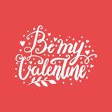 Carte postale tirée par la main de lettrage de brosse de vecteur de jour du ` s de Valentine Soyez mon illustration de mots d'amo Photos stock