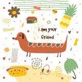 Carte postale tirée par la main mignonne avec le long chien illustration stock