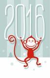 Carte postale vert gris, singe rouge, 2016, nouvelle année Photographie stock libre de droits