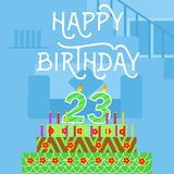 Carte postale verte de gâteau de Th du joyeux anniversaire 23 vieille - lettrage de main - calligraphie faite main Images stock