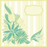 Carte postale verte et beige avec des fleurs et des trames Photo libre de droits