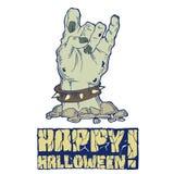 Carte pour Halloween avec la main de zombi illustration libre de droits