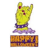 Carte pour Halloween avec la main de zombi illustration stock