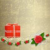 Carte pour l'invitation avec la boutonnière et le lacet Photo stock