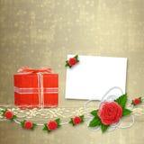 Carte pour l'invitation avec la boutonnière et le lacet Image stock
