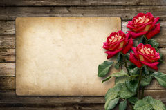 Carte pour l'invitation ou la félicitation avec la rose de rouge photos libres de droits