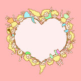 Carte pour la Saint-Valentin Anges et cupidons de vol autour de coeur illustration stock