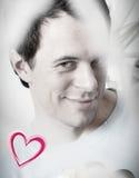 Carte pour la Saint-Valentin avec un sourire de jeune homme Photo libre de droits