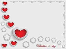 Carte pour la Saint-Valentin sur Gray Background Images libres de droits