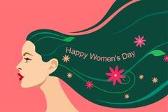 Carte pour le jour des femmes du 8 mars Belle tête d'une fille avec les cheveux lumineux débordants avec des feuilles, des fleurs illustration de vecteur
