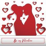 Carte pour le jour du ` s de valentine Le papier a coupé 3 illustration stock