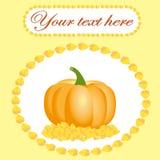 Carte pour le thanksgiving avec le potiron et les feuilles Photographie stock