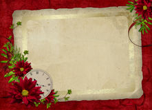 Carte pour les vacances avec les fleurs et l'horloge Photos stock