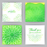 Carte quadrate con Lotus verde Fotografia Stock