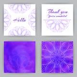 Carte quadrate con Violet Lotus Fotografia Stock Libera da Diritti