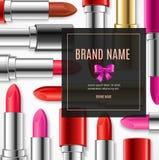 Carte réaliste de bannière de la publicité du rouge à lèvres 3d Vecteur Images stock