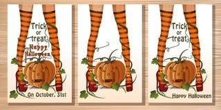 Carte réglée de Halloween avec des jambes de sorcière illustration stock