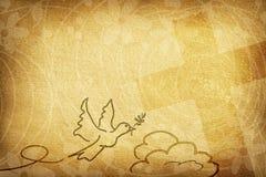 Carte religieuse avec la colombe avec les fleurs et la croix olives de brindille photo stock