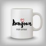 Carte romantique, affiche, tasse, copie de T-shirt Bonjour, mon amour Image libre de droits