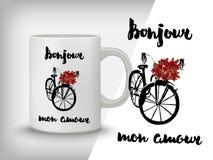 Carte romantique, affiche, tasse, copie de T-shirt Bonjour, mon amour Image stock