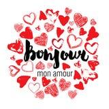 Carte romantique, affiche, tasse, copie de T-shirt Bonjour, mon amour Illustration de Vecteur