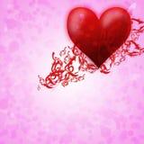 Carte romantique pour le coeur du valentine s day.red Photographie stock