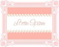 Carte rose avec des perles Photos libres de droits