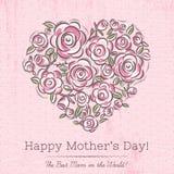 Carte rose avec le coeur des fleurs pour le jour de mère illustration libre de droits
