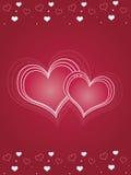 Carte rose de jour de Valentines de coeurs Images libres de droits