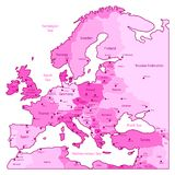 Carte rose de l'Europe Image libre de droits