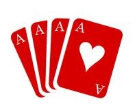 Carte rosse dell'asso Vestito della carta - vettore di riserva illustrazione di stock