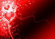 Carte rouge élégante de fond d'amour de coeurs Images libres de droits