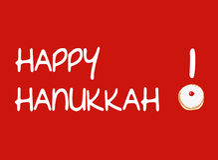 Carte rouge avec le beignet pour Hanoucca Photos stock