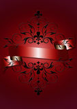 Carte rouge avec le ruban rouge brillant, le modèle noir Images libres de droits
