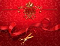 Carte rouge d'invitation d'ouverture officielle avec des ciseaux et ruban rouge Image stock